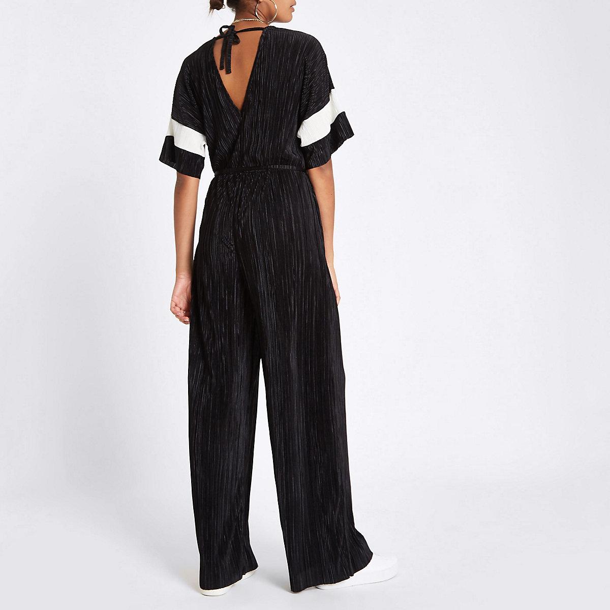 4d9bff3b3d34b Black plisse V neck wide leg jumpsuit - Plisse - women