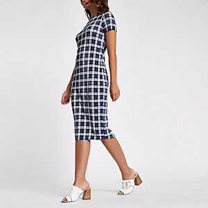 Marineblauwe plissé midi-jurk met ruiten