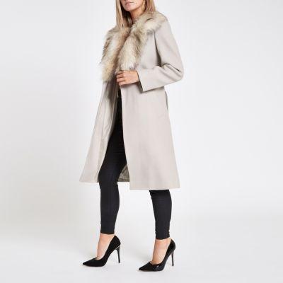 Petite Beige Faux Fur Trim Belted Wool Coat by River Island