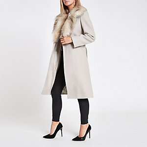 Petite beige faux fur trim belted wool coat
