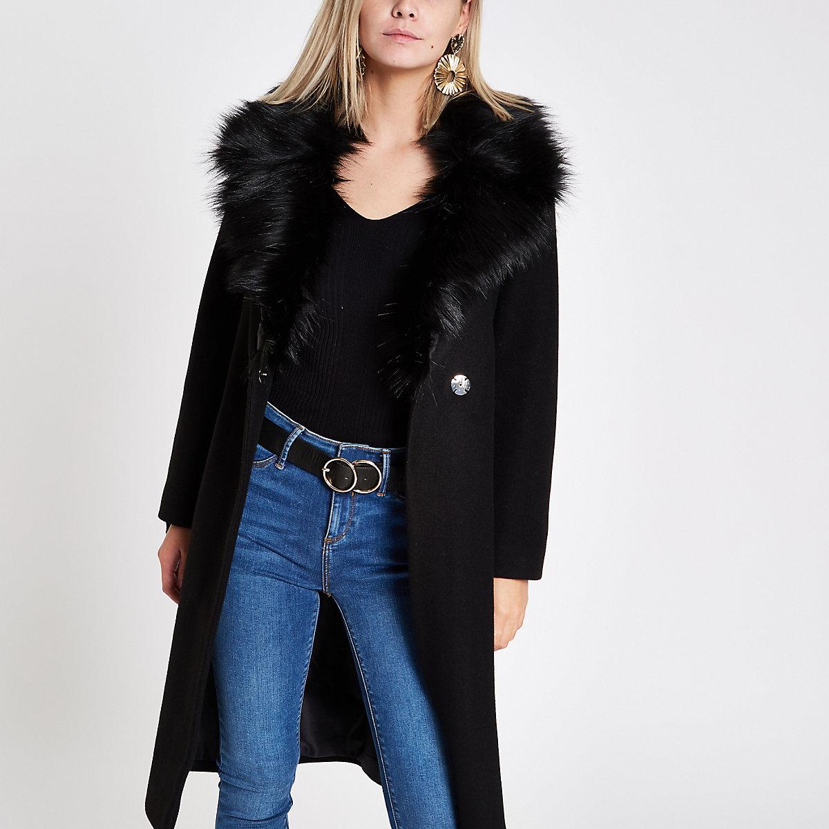 Petite black faux fur trim belted wool coat