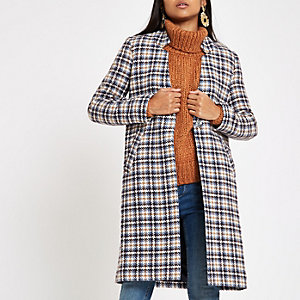 Petite blue check tailored coat