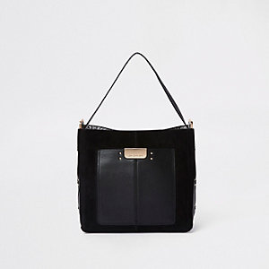 Black front pocket slouch bag