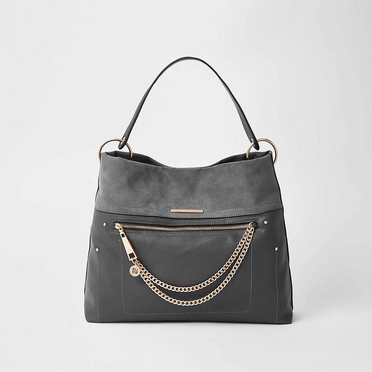Dark grey zip front chain front slouch bag
