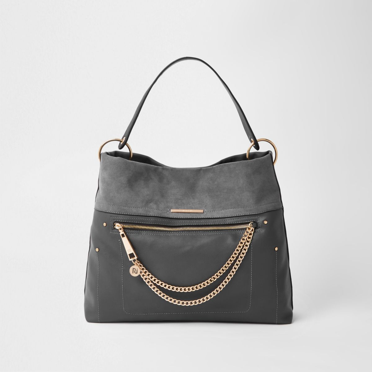Dark grey zip front chain front slouch bag