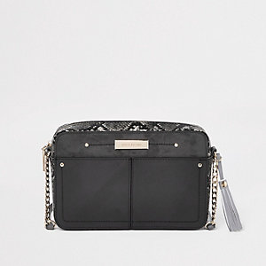 Grey snake skin boxy cross body bag