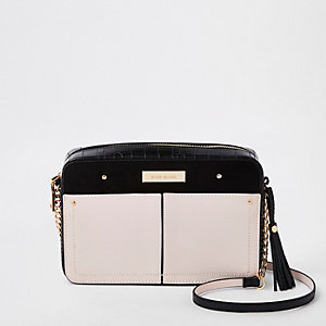 Light beige color block boxy cross body bag
