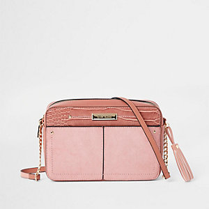 Light pink tassel boxy cross body bag