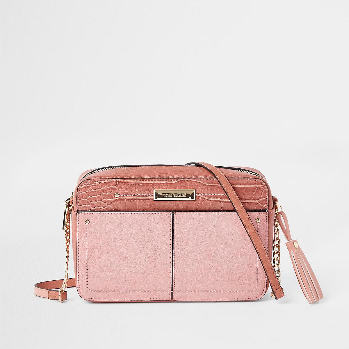 Light pink tassel boxy cross body bag