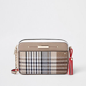 Brown check print boxy cross body bag