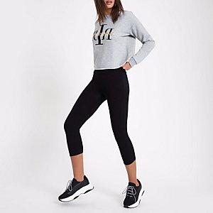 Zwarte cropped legging met hoge taille