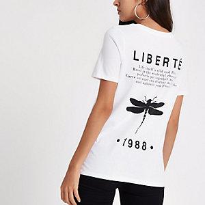 Weißes, figurbetontes T-Shirt mit Libellenprint