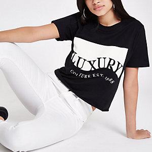 T-shirt boyfriend court à imprimé « Luxury » noir