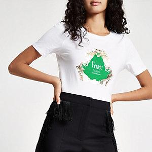 Weißes, figurbetontes T-Shirt mit Venice-Print