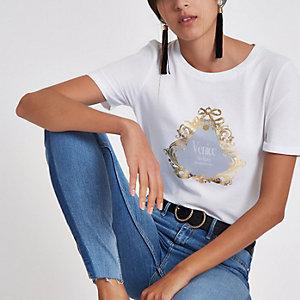 T-shirt ajusté blanc à imprimé « Venice »