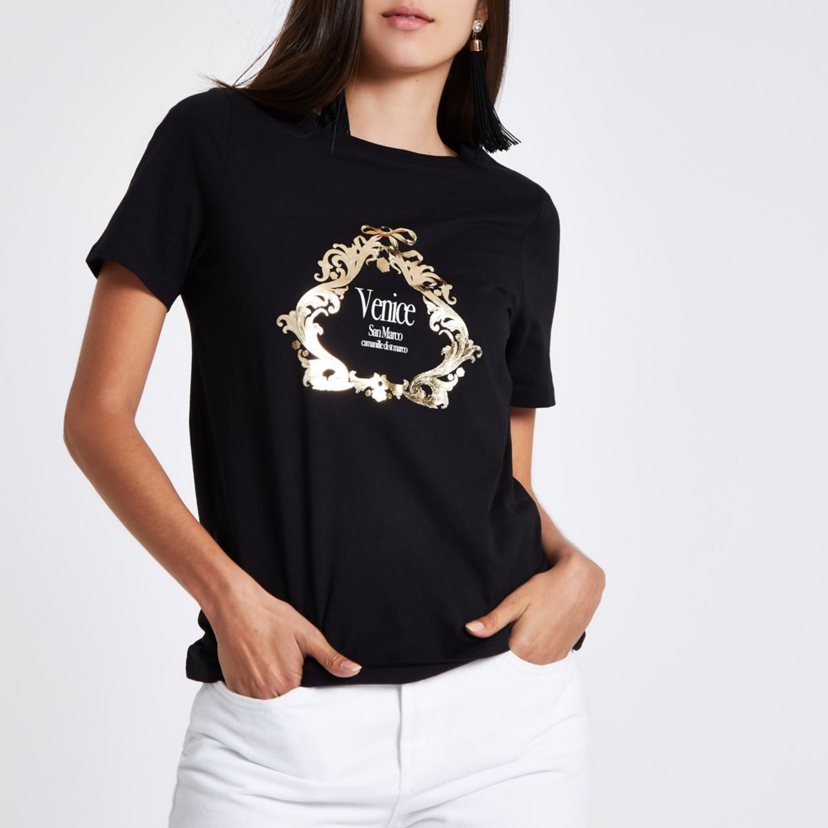 "Schwarzes, figurbetontes T-Shirt mit ""Venice""-Print"