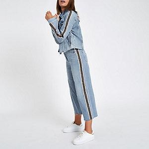 Jupe-culotte Alexa en jean bleu clair avec bande sur le côté