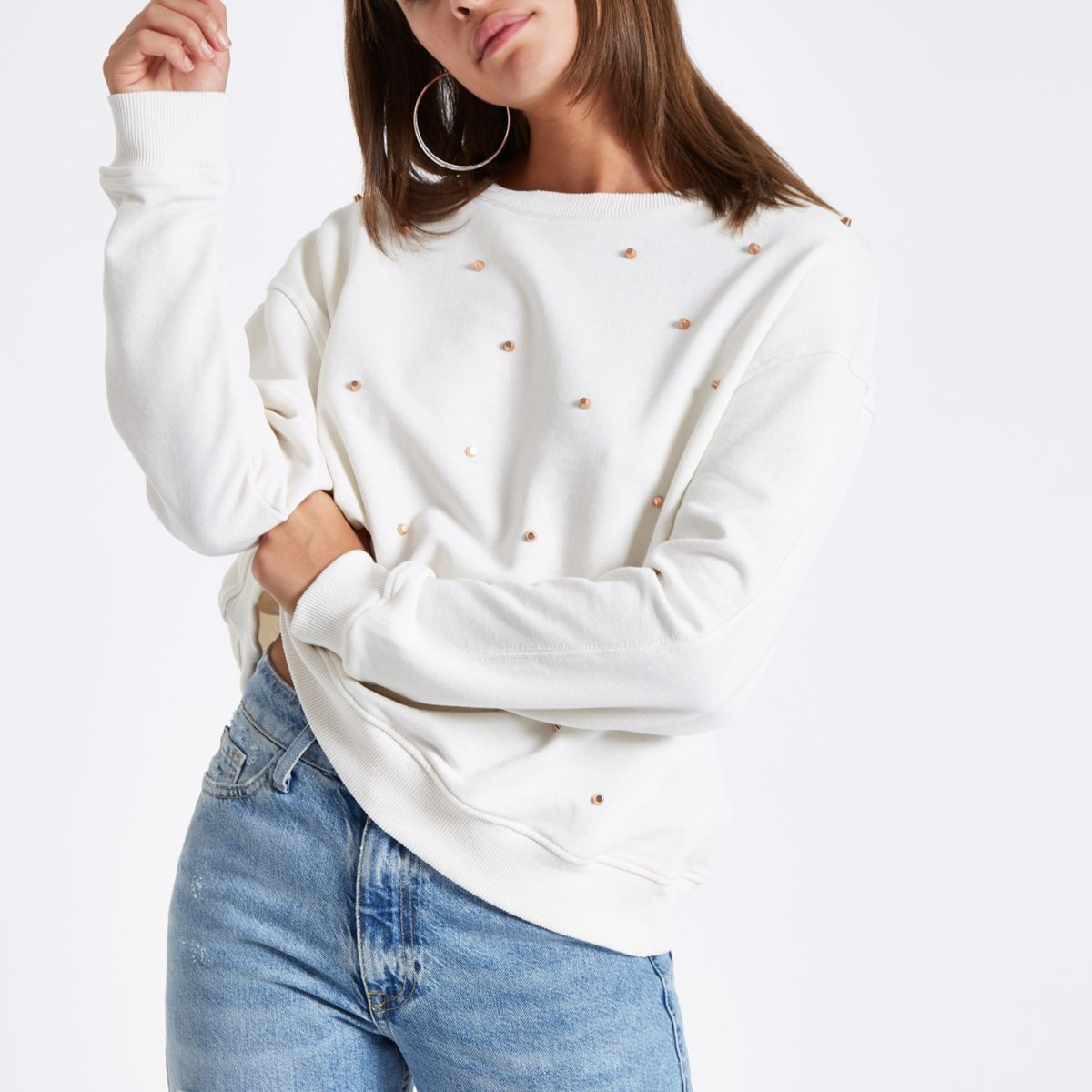 Cream studded crew neck jumper