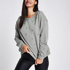 Grey studded crew neck sweater