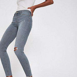 Molly - Middenblauwe denim ripped jeans