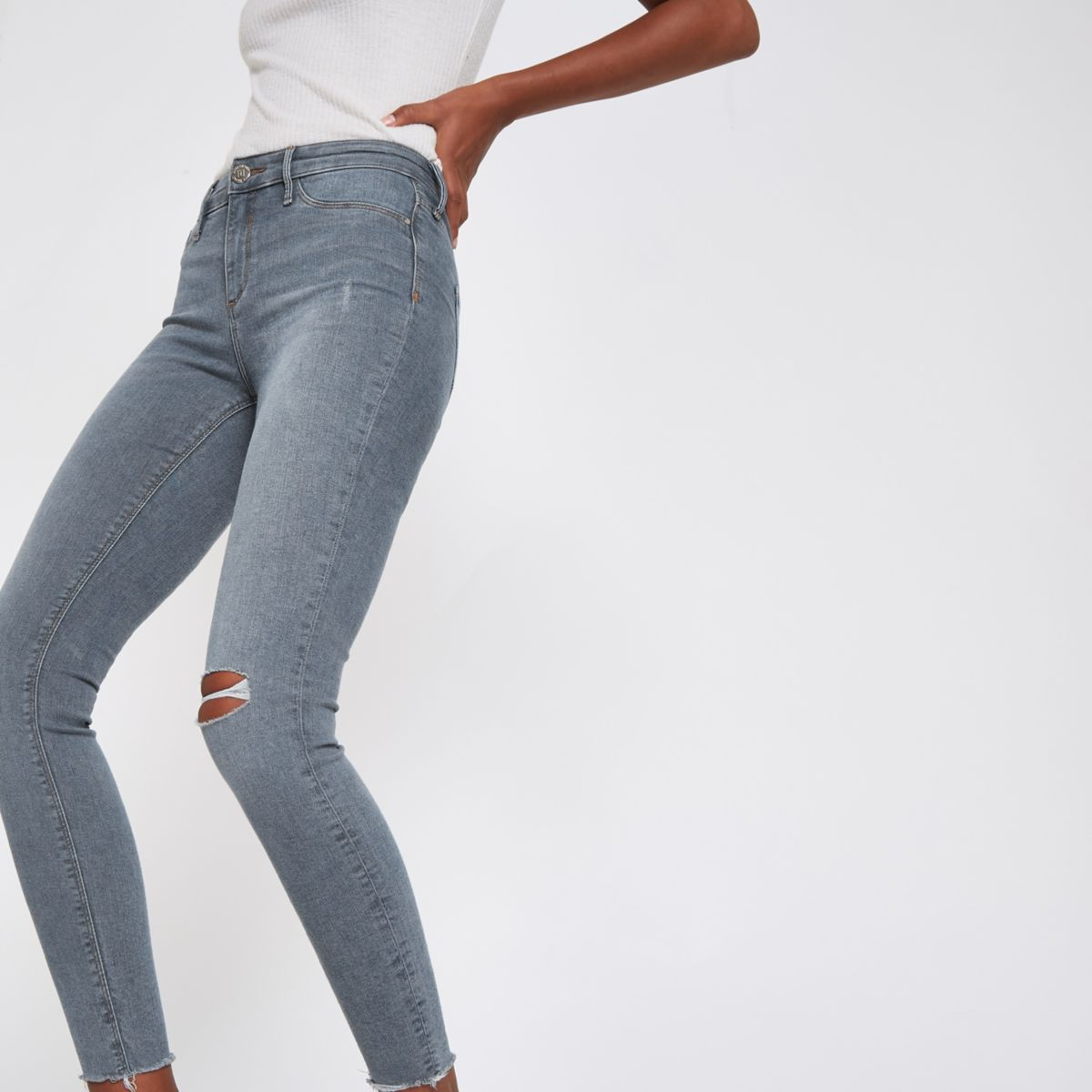 Mid blue denim Molly ripped jeans