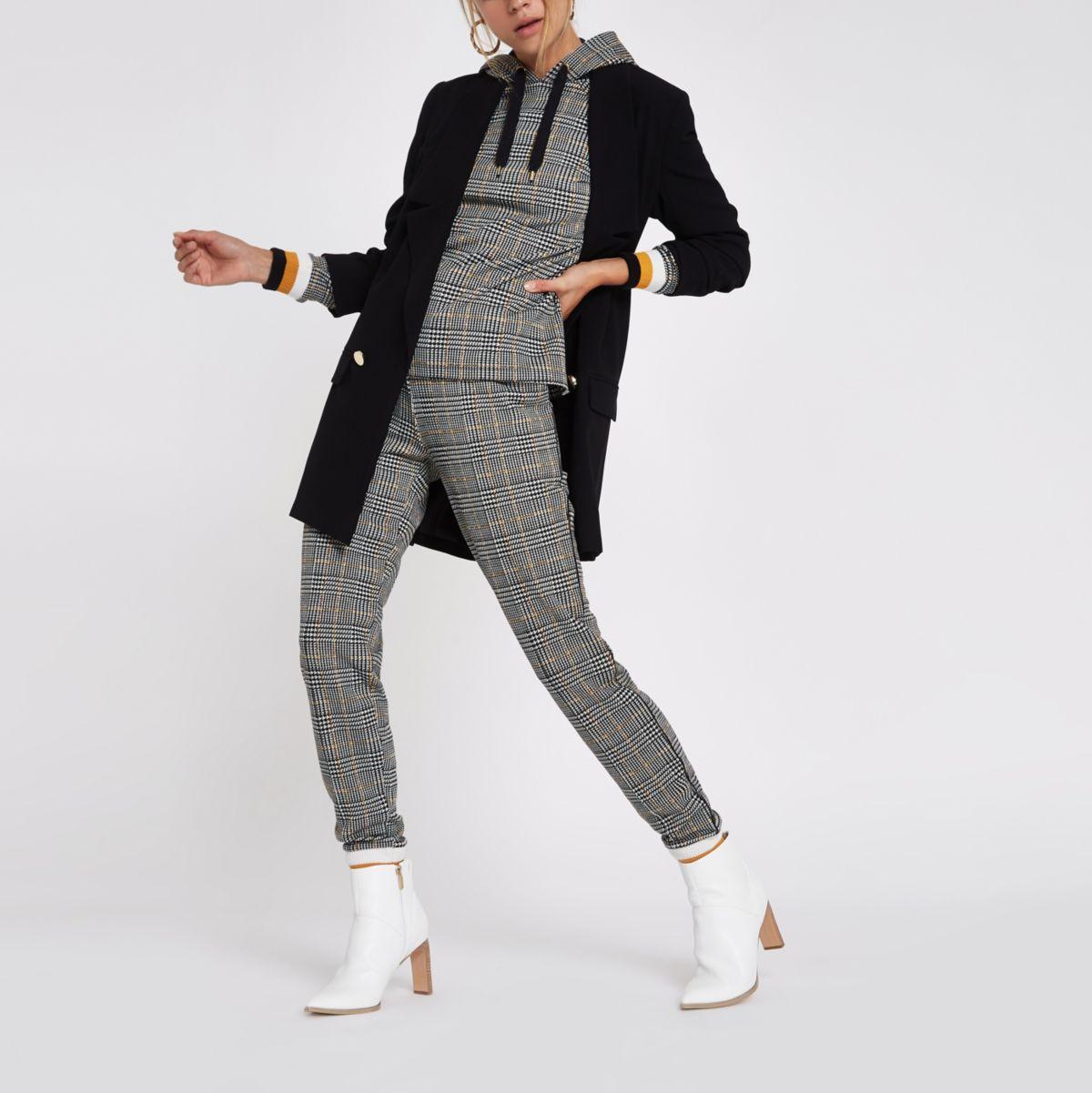 Grey check print taped hoodie