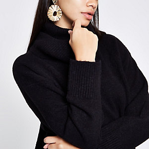 Black oversized roll neck jumper