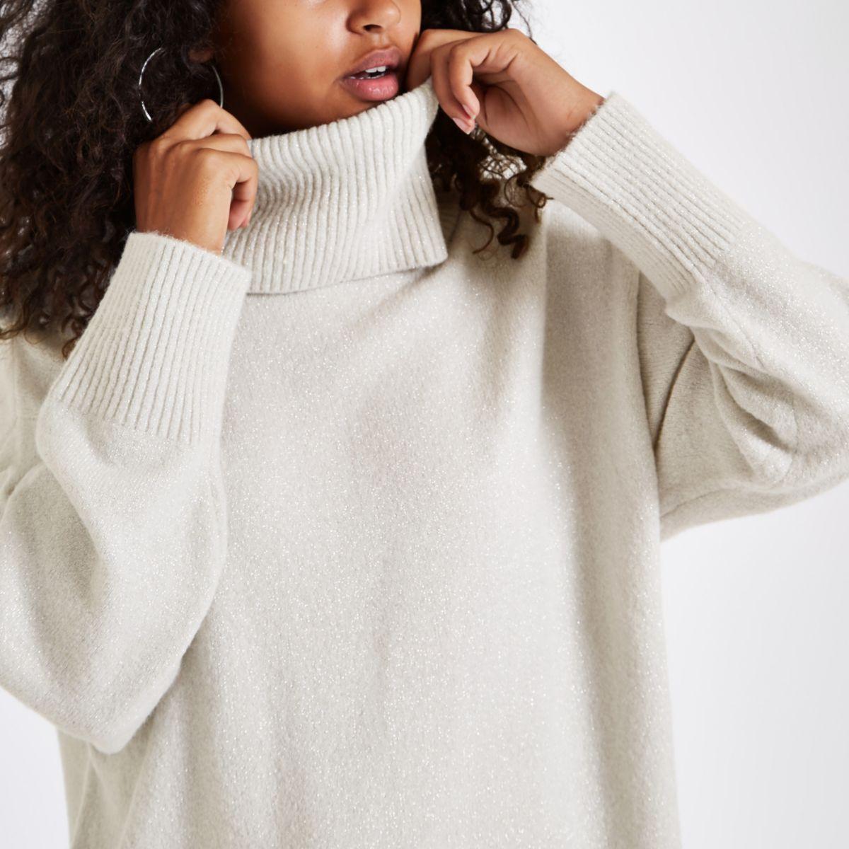 Grey glitter oversized roll neck jumper