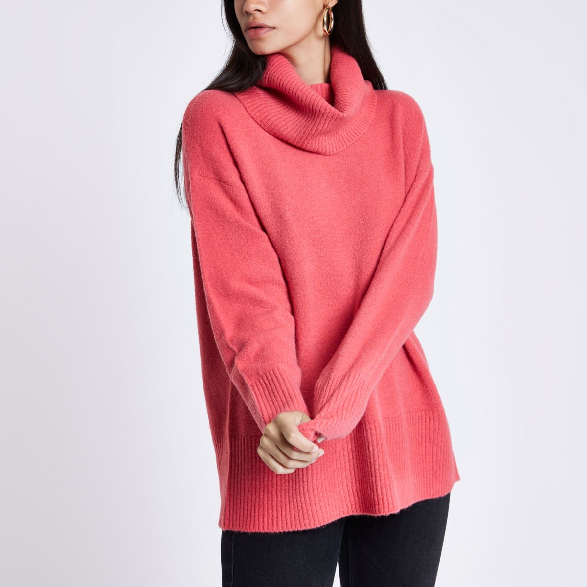 Pink oversized roll neck jumper