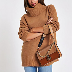 Brown oversized roll neck sweater