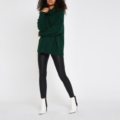 Dark Green Oversized Roll Neck Jumper by River Island
