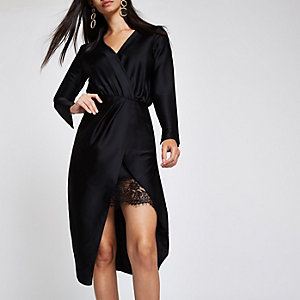 Black wrap front waisted midi dress
