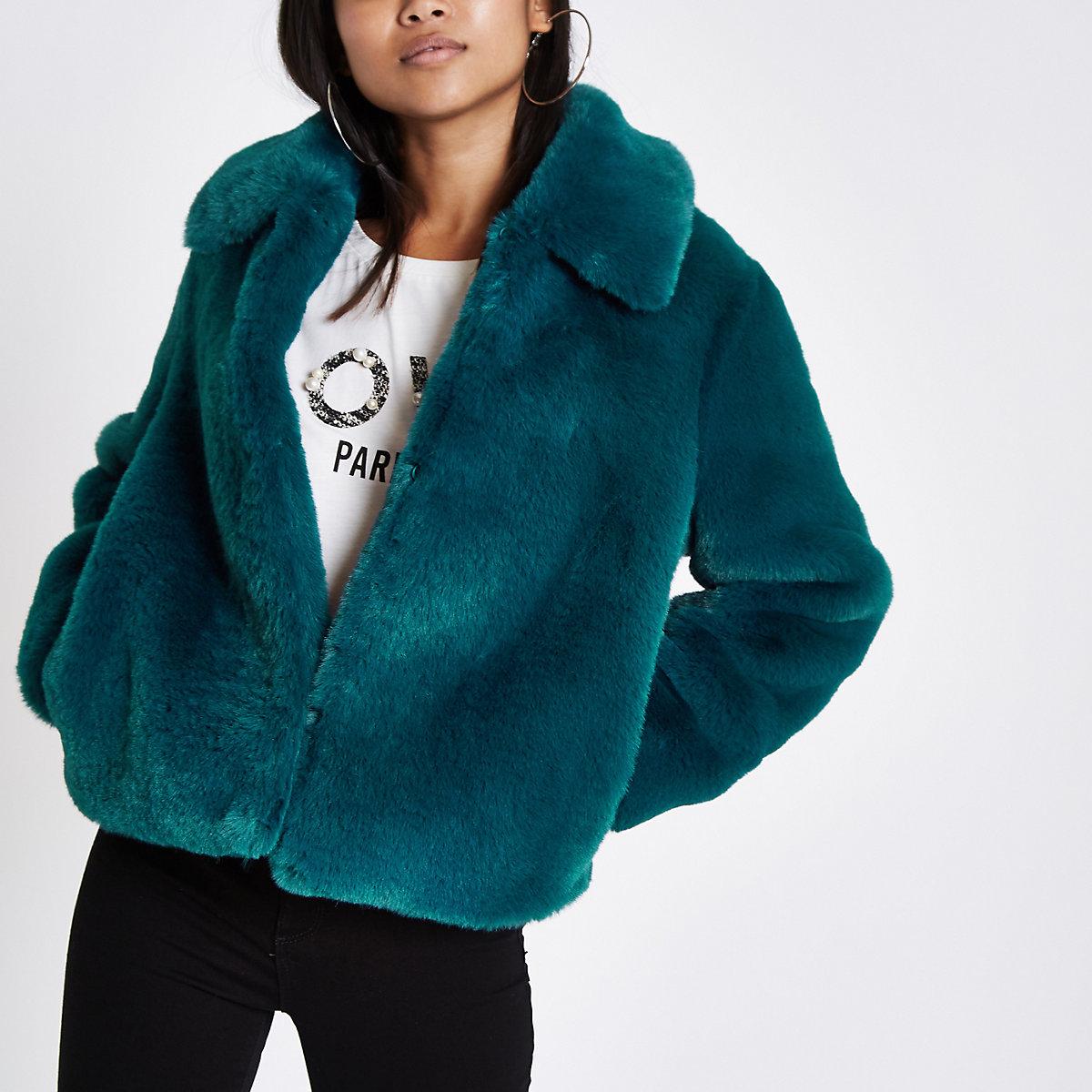 Petite teal blue plush faux fur coat