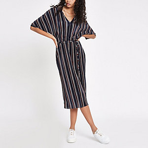 Navy stripe kimono sleeve dress