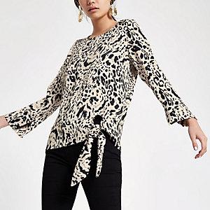 Zwarte top met luipaardprint en zijbandje
