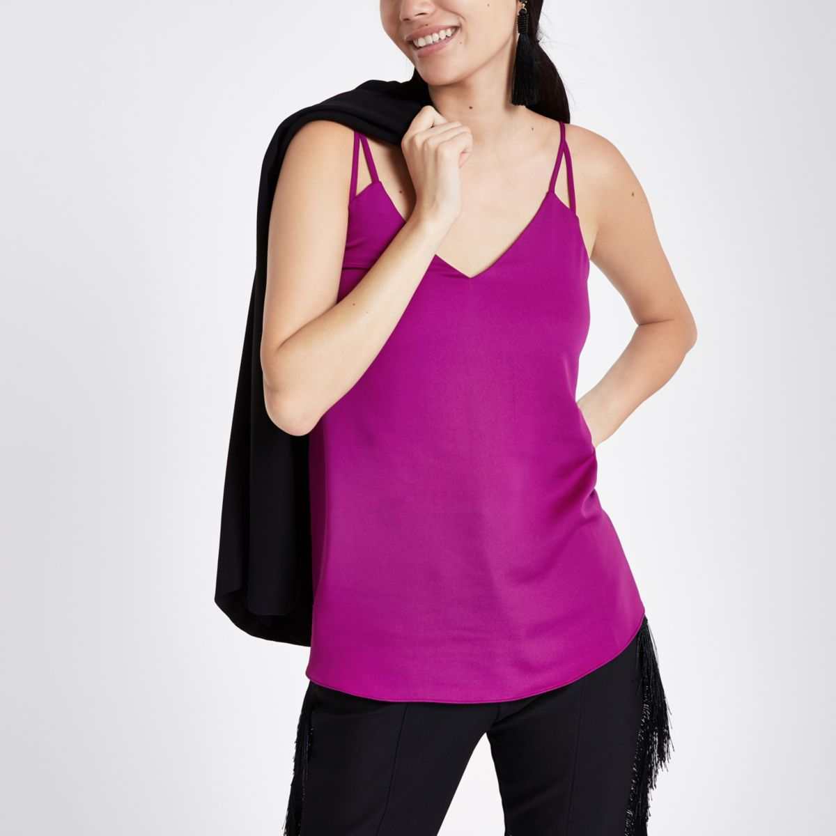 Purple split strap cami top