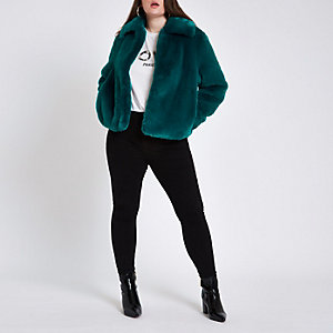 Plus – Blaugrüne, flauschige Jacke aus Kunstfell