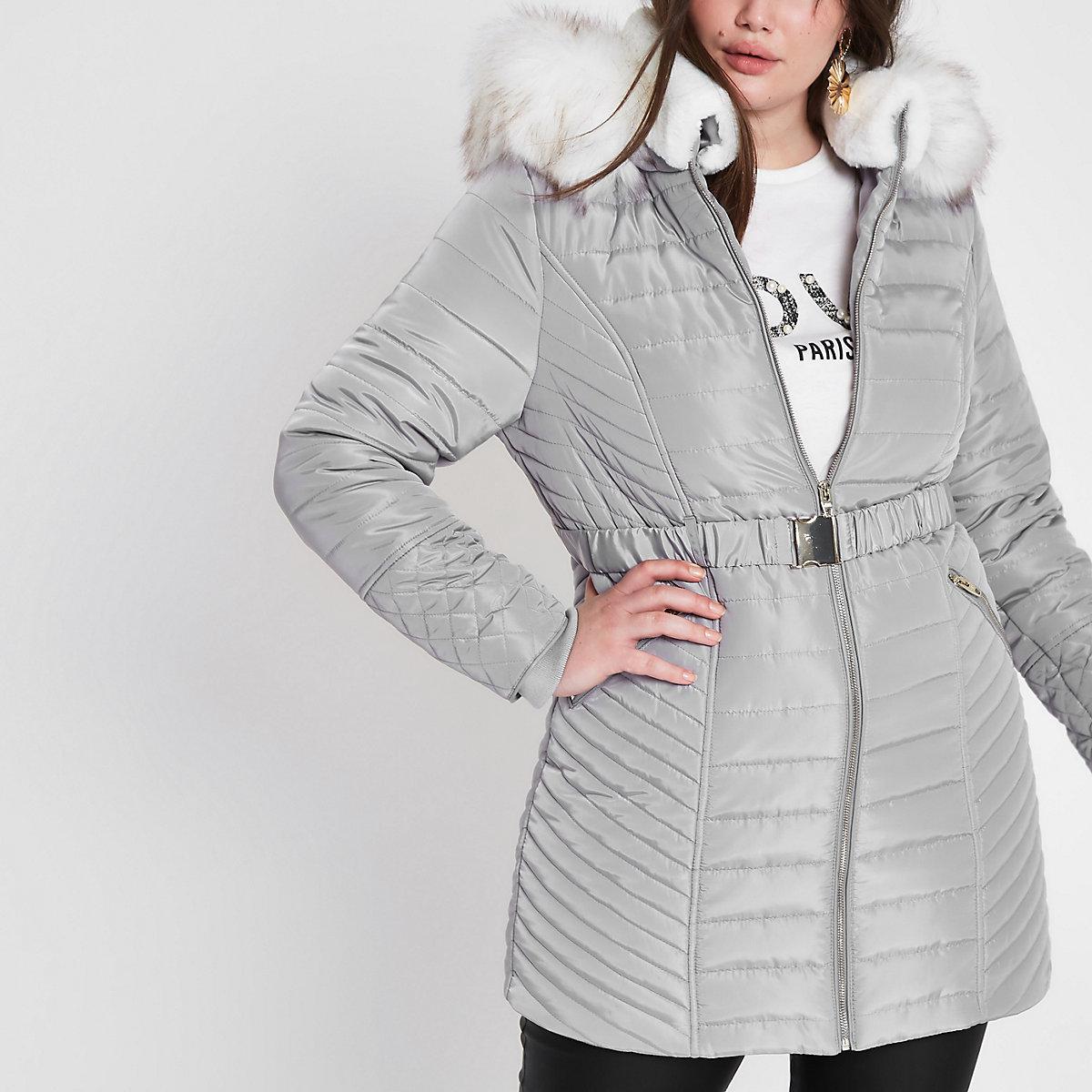 Plus grey faux fur belted puffer jacket