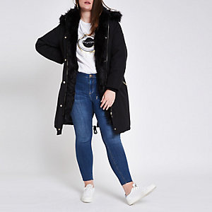 Plus black faux fur trim longline parka