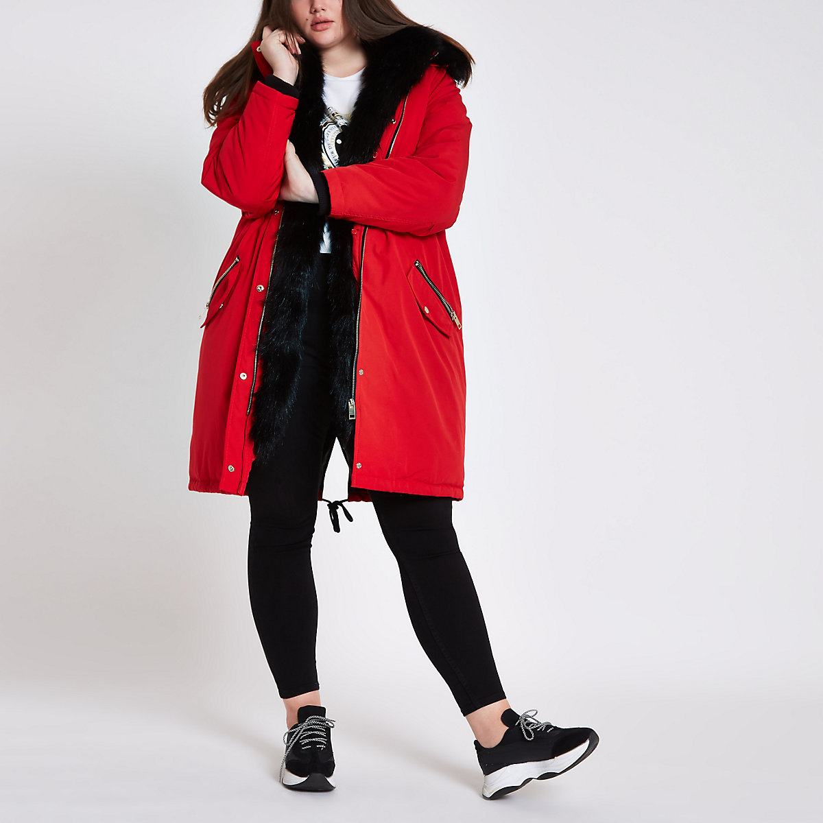 Plus red faux fur hooded parka