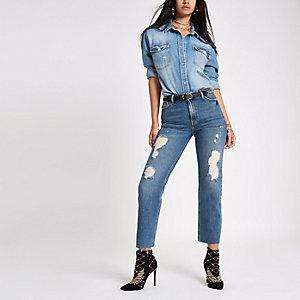 RI 30 mid blue ripped denim boyfriend jeans