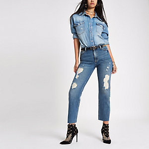 RI 30 mid blue ripped denim boyfriend jeans