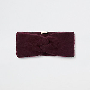 Dark red knit twist headband