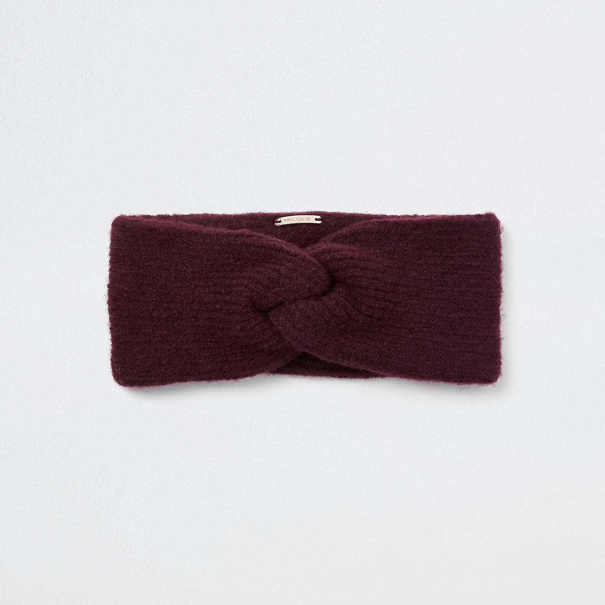 Dark red knit twist headband