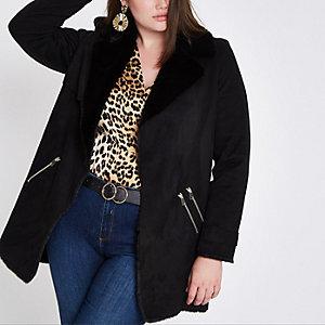 Plus black faux fur lined fallaway jacket