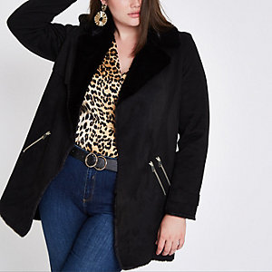 Plus black faux fur lined fallaway jacket
