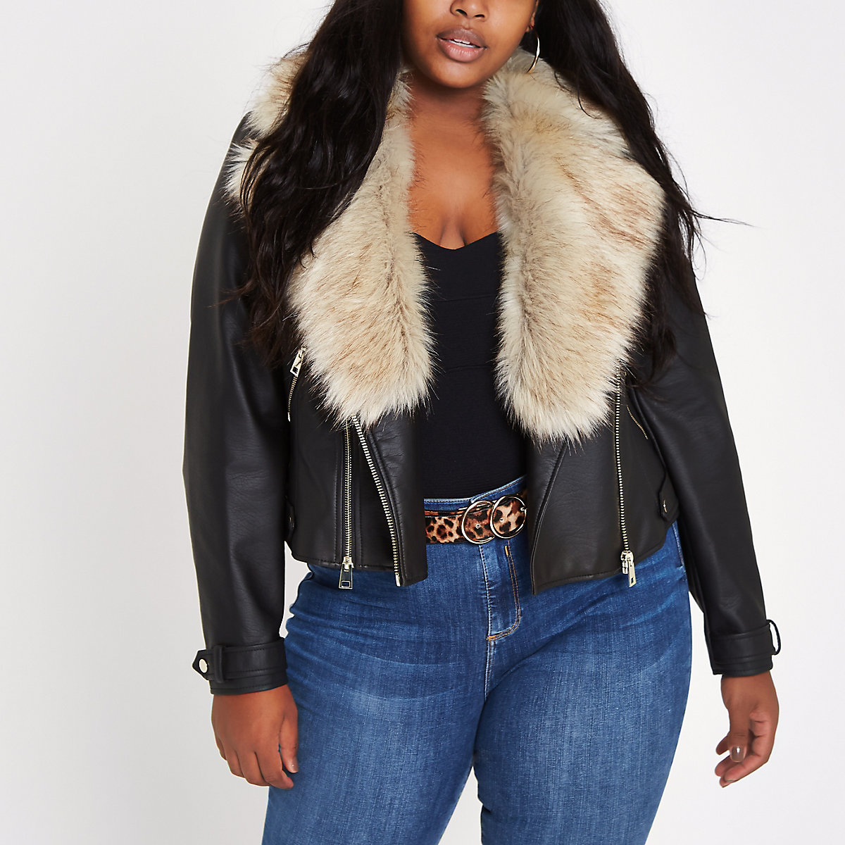 Plus black faux fur collar biker jacket