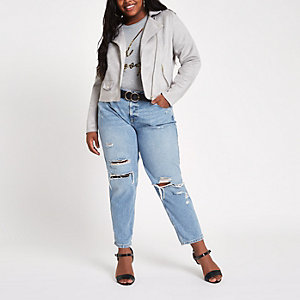 Plus light grey faux suede biker jacket
