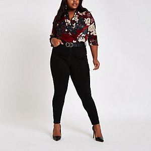 Plus dark red floral print wrap bodysuit