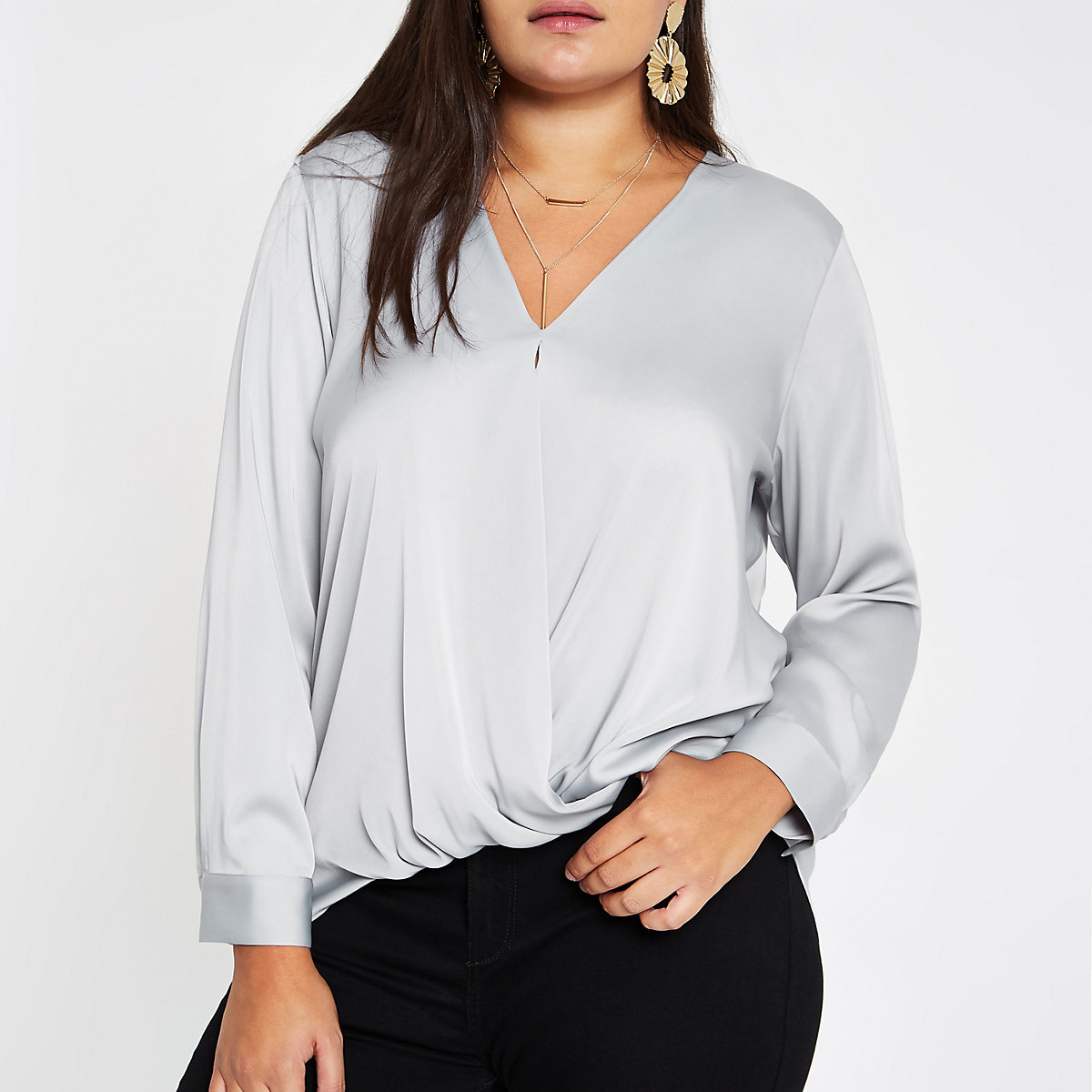 Plus grey satin wrap front blouse